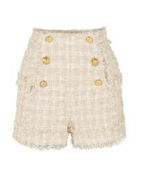 Short en tweed orné beige Balmain