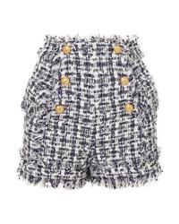 Short en tweed orné bleu marine Balmain