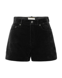 Short en velours noir Saint Laurent