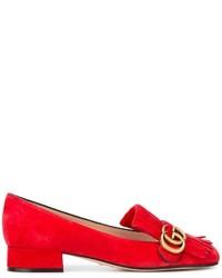 Slippers à franges rouges Gucci