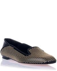 Slippers en cuir à clous noirs Alexander McQueen