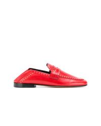 Slippers en cuir à clous rouges Isabel Marant