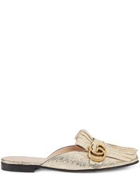 Slippers en cuir à franges dorés Gucci