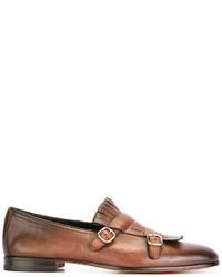 Slippers en cuir à franges marron