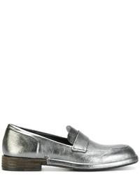Slippers en cuir argentés