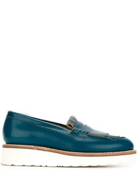 Slippers en cuir bleu canard