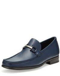Slippers en cuir bleu marine