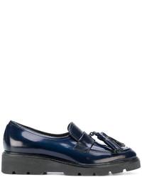 Slippers en cuir bleu marine P.A.R.O.S.H.