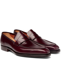 Slippers en cuir bordeaux George Cleverley