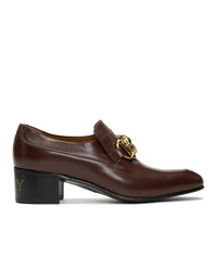 Slippers en cuir bordeaux Gucci