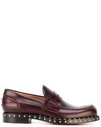 Slippers en cuir bordeaux Valentino Garavani