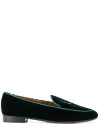 Slippers en cuir brodés noirs Giorgio Armani