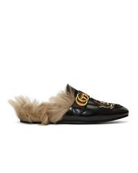 Slippers en cuir brodés noirs Gucci