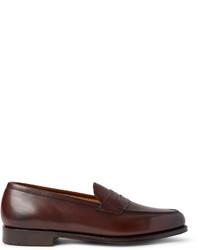 Slippers en cuir bruns foncés Edward Green