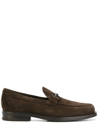 Slippers en cuir bruns foncés Tod's