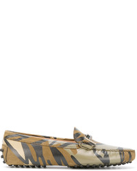 Slippers en cuir camouflage olive Tod's