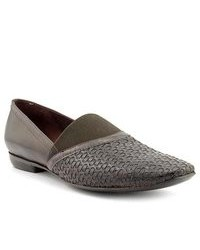 Slippers en cuir gris foncé