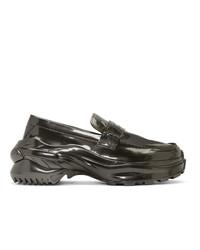 Slippers en cuir gris foncé Maison Margiela