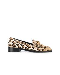 Slippers en cuir imprimés léopard marron clair Versace