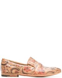 Slippers en cuir imprimés marron clair Premiata