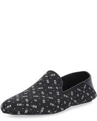 Slippers en cuir imprimés noirs