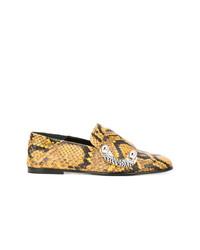 Slippers en cuir imprimés serpent dorés Proenza Schouler