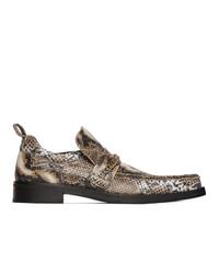 Slippers en cuir imprimés serpent marron clair Martine Rose