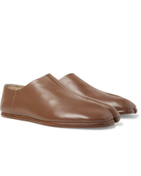 Slippers en cuir marron clair Maison Margiela