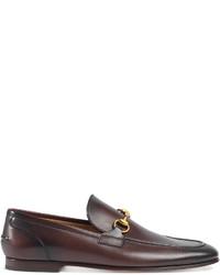 Slippers en cuir marron foncé Gucci