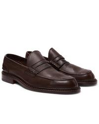 Slippers en cuir marron foncé Tricker's