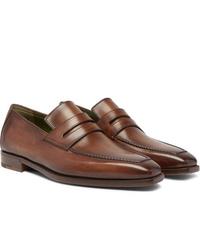 Slippers en cuir marron Berluti