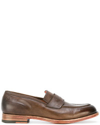 Slippers en cuir marron Santoni