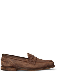 Slippers en cuir marron