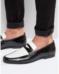 Slippers en cuir noirs et blancs Asos