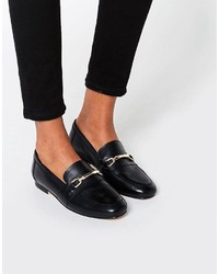 Slippers en cuir noirs Asos