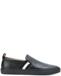 Slippers en cuir noirs Bally