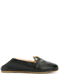 Slippers en cuir noirs Charlotte Olympia