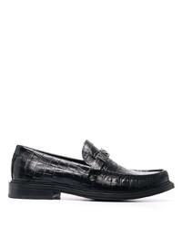 Slippers en cuir noirs Moschino