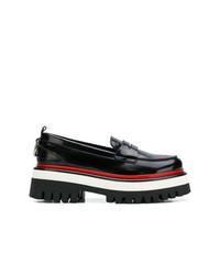 Slippers en cuir noirs MSGM