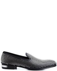 Slippers en cuir noirs Philipp Plein