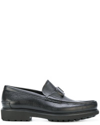 Slippers en cuir noirs Salvatore Ferragamo