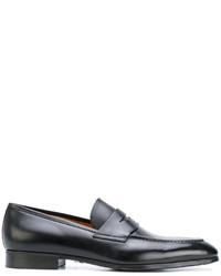 Slippers en cuir noirs Santoni