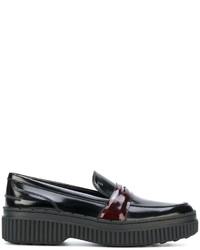 Slippers en cuir noirs Tod's