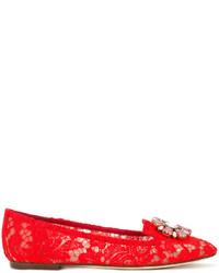 Slippers en cuir ornés rouges Dolce & Gabbana