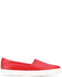 Slippers en cuir rouges Giorgio Armani