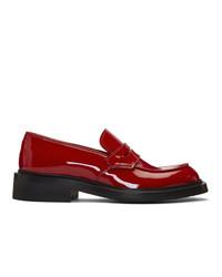 Slippers en cuir rouges Prada