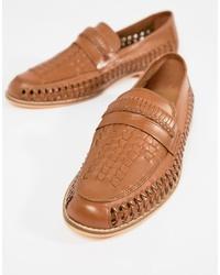 Slippers en cuir tressés marron clair