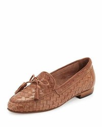 Slippers en cuir tressés marron