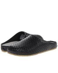 Slippers en cuir tressés noirs