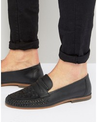 Slippers en cuir tressés noirs Asos